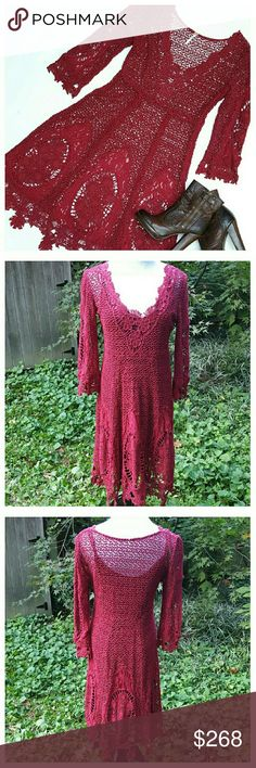 """🌟HP🌟Free People Mi Amore Lace Dress Gorgeous deep crimson crochet dress with beautiful floral trim. Deep V-neck, 3/4 sleeves, side zip, relaxed fit. Matching adjustable slip included. Dress is sturdy 100% cotton crochet, slip is 100% viscose. Dress length from shoulder to longest point 41"""", length from back of neck 38"""", sleeve length from shoulder 19"""". Width at bust 17"""", width at empire waist 15"""". Dry clean recommended. EUC. Free People Dresses"""