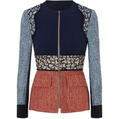 Sancroft Designer Jacket | Multi Viscose | Roland Mouret Pre Fall 2016... ($2,995) ❤ liked on Polyvore featuring outerwear, jackets, roland mouret and blue jackets