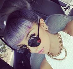 ℒᎧᏤᏋ her gorgeous lilac color with a high bun & amazing bangs..via pinterest: @ nandeezy †