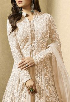 Embroidered Net Abaya Style Suit in Fawn designs indian style Pakistani Fashion Party Wear, Indian Fashion Dresses, Indian Gowns, Pakistani Dress Design, Abaya Fashion, Pakistani Dresses, Indian Outfits, Pakistani Clothing, Pakistani Suits