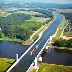Fascinating water bridge in Magdeburg, Germany