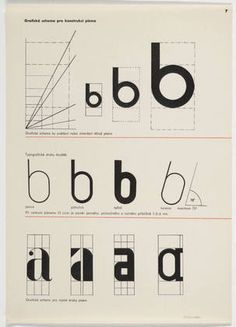 Zdenek Rossmann. Graficke schema pro konstrukci pisma. 1934