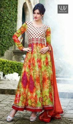 New Multicolor Printed Georgette Anarkali Salwar Suit New multicolor georgette anarkali salwar suit with printed, resham, lace and patch border work.