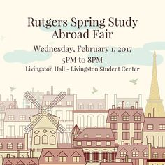 Interested in studying abroad? Stop by the Rutgers Study Abroad Fair tonight on Livingston campus! #RUGlobal #RUStudyAbroadWeek17