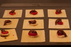 Fried wonton dessert - strawberry, banana, nutella