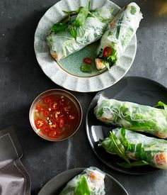 vietnamese nime chow // rice paper rolls with shrimp, herbs, cucumber, rice noodles,dipping sauce