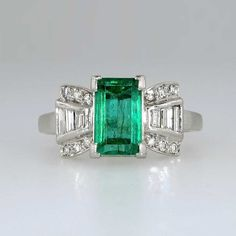 Vibrant 1940's Emerald Cut Emerald & Diamond by YourJewelryFinder, $4200.00.. in my dreams!