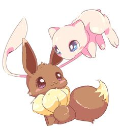 Eevee and Mew! Together with good ol' pikachu the most cute pokémon!