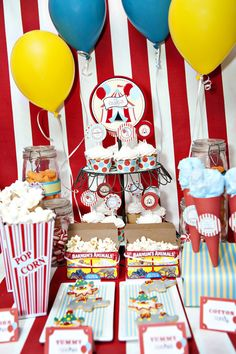 Circus party..very cute..Love the cotton candy cones on the right!