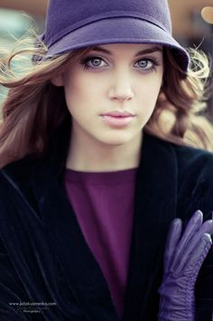 Puple hat,shirt,suede coat,leather gloves w/stiching-love,and pretty soft makeup..for fall/winter..