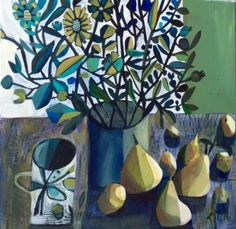 Calm Moment by British Contemporary Artist Este MacLEOD Illustrations, Illustration Art, Modern Oil Painting, Still Life Art, Naive Art, Art For Art Sake, Collage Art, New Art, Flower Art