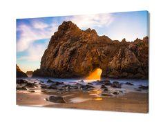 Beach Print, Big Sur Wall Decor, San Francisco Ocean, California Sunset Beach Photo, Keyhole Arch Canvas, Seascape Art, Rocky Carmel Coast by SusanTaylorPhoto on Etsy