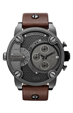 DIESEL® 'Little Daddy' Chronograph Leather Strap Watch