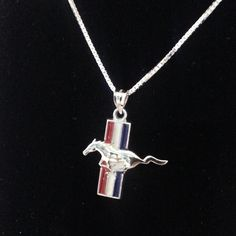 Ford Mustang pendant with red White and blue enamel sterling silver