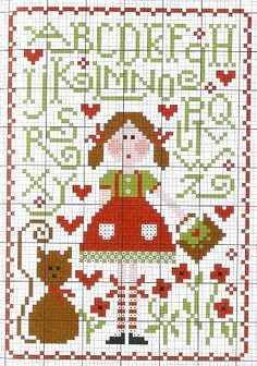 Super cute girl and cat sampler. Feels very folk-arty without being overly so.