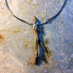 M* Jewelry / driftwood and petals of water casted sterling silver / necklace