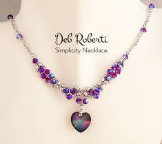 Deb Roberti's Simplicity Necklace Beading Needles, White Opal, Beading Tutorials, Seed Beads, Swarovski Crystals, Beaded Necklace, Silver, Jewelry, Beaded Collar