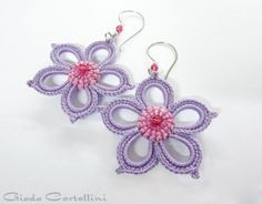 Earrings, flower, rigid, 100% Vegan, spring, crochet, embroidered, lavender, lilac, wisteria, cyclamen, crystals, stainless steel