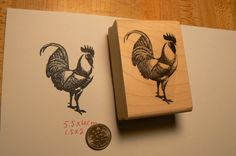 Rooster (leghorn) rubber stamp.  measures 2x2.25  deep etched and wood mounted.