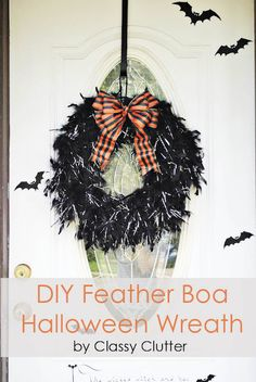 DIY Feather Boa Wreath by Classy Clutter