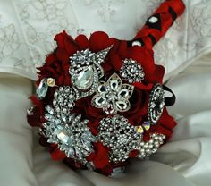Red Wedding Bouquet Bridal Brooch Bouquet Rhinestone by BoHoBridal, $325.00