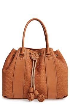 Tory Burch Amalfi Woven Leather Tote available at Tory Burch, New Bag, Smooth Leather, Amalfi, Bucket Bag, Nordstrom, My Style, Structured Handbags, Couture