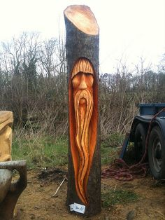cherry wood tree wizard chainsaw carving   rob beckinsale   Flickr