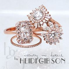 Diamonds, Art Deco, Great Gatsby, custom made, engagement ring, anniversary ring, special occasion ring, cocktail ring, hand made to order, love, gold, rose gold, white gold, silver www.heidigibson.com