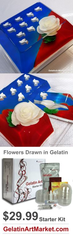 4th July Gelatin Art Cake.  Learn how to make flowers in clear gelatin.  www.gelatinartmarket.com