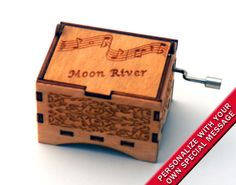 "Music Box ""Moon River"" by Henry Mancini Laser Engraved Wooden Interlocking Hand Crank Music Box"