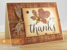 Create With Me: A Thanksgiving card using stamps from Waltzingmouse, leaves colored with Copics.