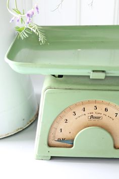 Love this color!!  Vintage scale #green #kitchen #cooking