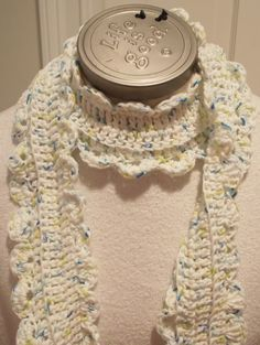 White Blue Yellow Cotton Scarf with Scalloped by Hookedonyarnct, $18.00