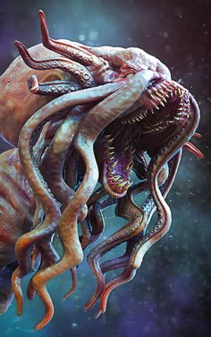 Lovecraftian Creature by Kasita Dw Necronomicon Lovecraft, Lovecraft Cthulhu, Aliens, Fantasy Monster, Monster Art, Creature Concept Art, Creature Design, Eldritch Horror, Lovecraftian Horror