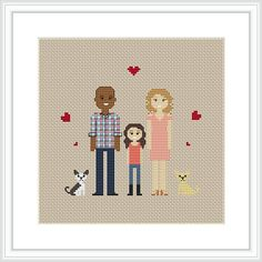 These make wonderful gifts for weddings, christmas, birthdays, etc! * This portrait listing is for a custom cross stitched PATTERN * Price varies on number of characters. *** If you want completed cross stitch portrait, please contact me!*** Upon ordering: - Select the number of figures