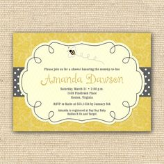 Bumble Bee Baby Shower Invitations - DIY Printable. $20.00, via Etsy.