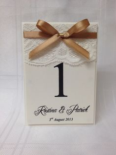 Personalised Vintage Lace Inspired Wedding Table Name/Numbers. £1.50 from www.facebook.com/TotallyBridal
