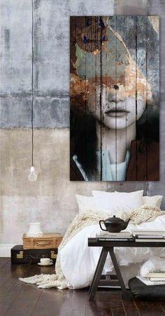 chambre de style rustique art urbain