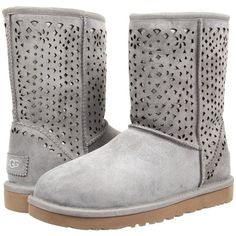 UGG Classic Short Flora Perf (Light Grey Water Resistant Suede)... ($123) ❤ liked on Polyvore featuring shoes, boots, ankle booties, ankle boots, grey, low heel ankle boots, grey ankle boots, suede boots, platform booties and grey booties