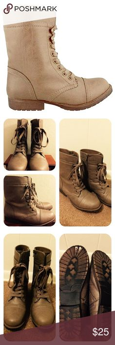 Rampage Jeliana Taupe Combat Boots Used twice.  A combat inspired design from Rampage Faux leather upper Manmade outsole Lace up closure Side Zip for easy on off Lightly padded insole Rampage footwear is always upbeat, on trend and best of all, comfortable. Rampage Shoes Lace Up Boots