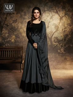 Jennifer winget style grey embroidered gown suit online which is crafted from chanderi and georgette fabric with exclusive embroidery and resham work. This stunning bollywood style gown suit comes with santoon inner and chiffon dupatta. Black Anarkali, Anarkali Gown, Lehenga, Anarkali Suits, Long Anarkali, Indian Anarkali, Saree Dress, Designer Anarkali, Designer Gowns