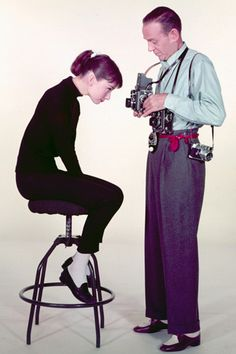 Audrey Hepburn and Fred Astaire in a promotional shot for Funny Face (1957).