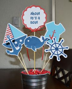 Nautical Baby Shower Boy 12 pieces by Beescreations13 on Etsy, $10.50