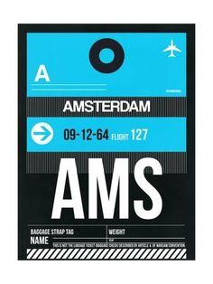 AMS Amsterdam Luggage Tag 1 Kunstdruk