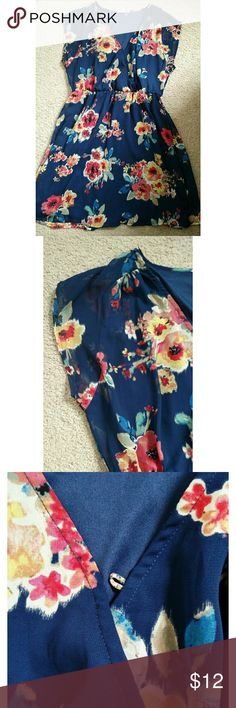 LUSH Navy Blue Floral Chiffon Dress Like new, reposh dress! It is missing button in frknt, but easy to fix and isn't necessary even! Chiffon material and lovely floral print! Lush Dresses