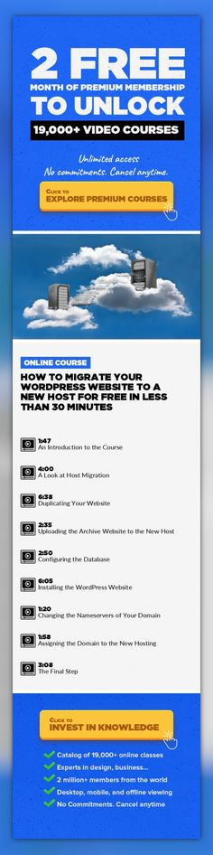 How to Migrate Your WordPress Website to a New Host for FREE in Less Than 30 Minutes Entrepreneurship, Technology, Writing & Publishing, Web Development, Blogging, WordPress, Website, Web Hosting #onlinecourses #onlineuniversitytips #onlineprogramscomputerscience   This class takes a look at How to Migrate Your WordPress Website to a New Host for FREE in Less Than 30 Minutes.   Have you ever had p...