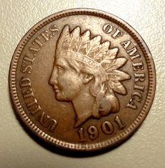 1901 Indian Head Penny  One Cent Vintage Coin Nice by hhm224, $4.00