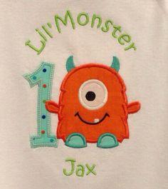Little monster 1st first birthday BOY bodysuit by PANNYCAKES