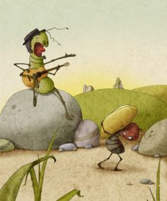 """illustrations for the fable """"The Ant and the Grasshopper"""" Grasshopper Pictures, Animal Drawings, Art Drawings, Les Fables, Woodland Creatures, Book Illustration, Ants, Illustrators, Fairy Tales"""