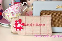 Glasses case with free motion embroidery flower. www.facebook.com/mintypinkcustard